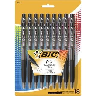 BIC BU3 Ballpoint Pen, 1 mm Medium Tip, Black, Pack of 18
