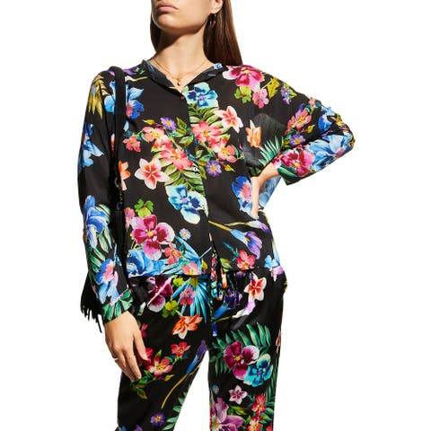 Johnny Was Womens Maeve Black Multi Color Floral Print Long Sleeve Button Blouse Top Tunic