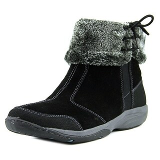 Easy Spirit Leaman Women Round Toe Leather Black Snow Boot