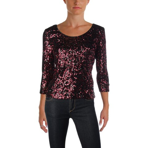 Alex Evenings Womens Petites Blouse Sequined Long Sleeve - PM