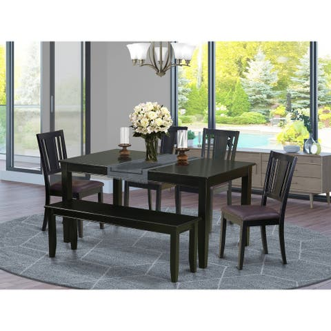Asian Wood Rectangular Dining Table, Dining Room Chairs and wooden Bench - Black and Cherry Finish (Chairs Option)