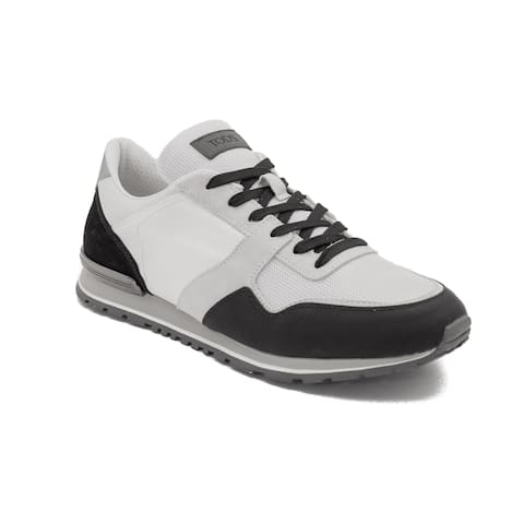 Tod's Men's Leather Fabric Sneaker Shoes White/Black
