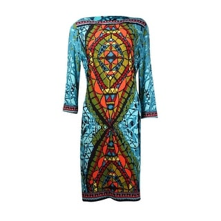 Eci Women's 3/4 Sleeve Printed Boat Neck Dress - Teal