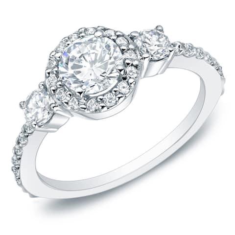 Auriya 14k Gold 1 1/4ctw 3-Stone Halo Diamond Engagement Ring