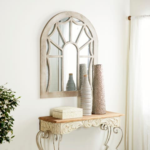 Cream Fir Vintage Wall Mirror 44 x 36 x 1 - Taupe - 44 x 36