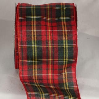 """Chic Red, Yellow and Navy Blue Tartan Wired Ribbon 4"""" x 20 Yards