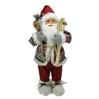 "24"" Nordic Skiing Standing Santa Claus Christmas Figure with Burlap Gift Bag"