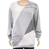 Alfani Gray Mens Size 2XL Angled Colorblocked Crewneck Sweater