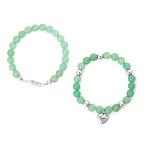 Steel Green Aventurine Set of 2 Heart Charm Stretch Bracelet Ct 175