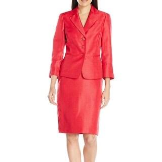 Le Suit NEW Pink Women's Size 8 Notch Collar 3-Button Skirt Suit Set