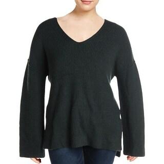 Link to VELVET BY GRAHAM & SPENCER Womens V-Neck Sweater Wool Blend Pullover - Olive Similar Items in Women's Sweaters