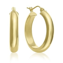 MCS JEWELRY INC 14 KARAT YELLOW GOLD CLASSIC HOOP EARRINGS HALF ROUND HOOP 25MM