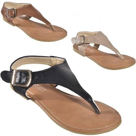 Women's Ankle Strap Buckle Slingback T-Strap Thong Roman Gladiator Flat Sandals - Beige - Size 5