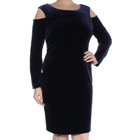 CONNECTED Womens Navy Cold Shoulder Velvet Long Sleeve Jewel Neck Knee Length Sheath Cocktail Dress Size: 12
