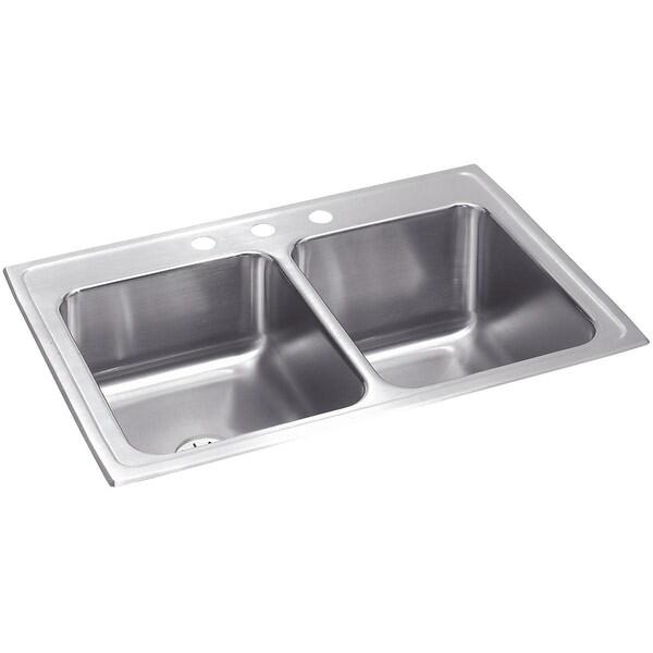 "Elkay STLR3322RPD Gourmet 33"" Double Basin 18-Gauge Stainless Steel Kitchen Sink for Drop In Installations with 50/50 Split -"