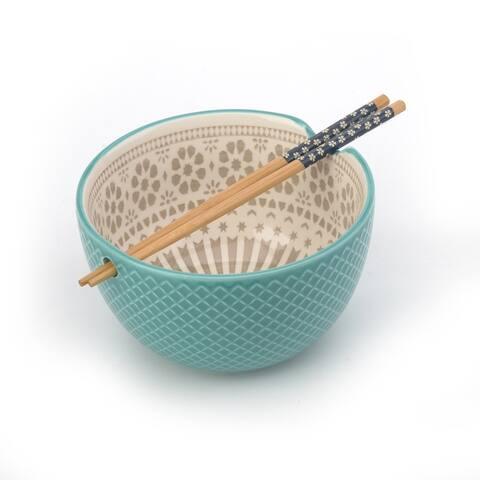 Signature Housewares 26-ounce Ramen Bowl with Chopsticks, Aqua/Taupe, Set of Four