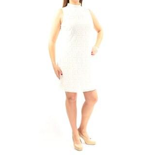 Womens Ivory Sleeveless Above The Knee Sheath Wear To Work Dress Size: 12