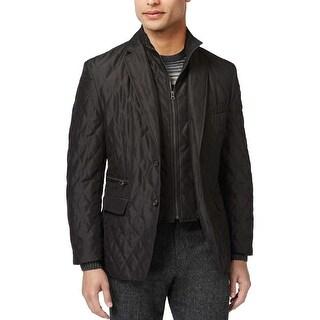 Ralph Lauren Diamond Quilted Bib Hybrid Sportcoat Blazer Jacket, Black