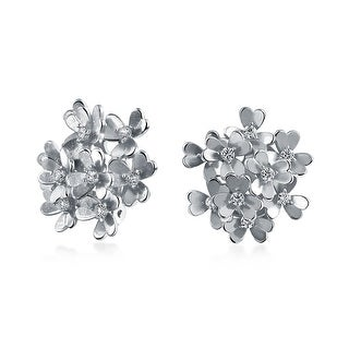 Bling Jewelry Silver 3 Leaf Clover Flower Clip On Rhodium Plated Earrings