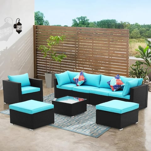 Zenova 3/8 Pieces Patio Rattan Wicker Sectional Sofa Sets With Pillows And Cushions