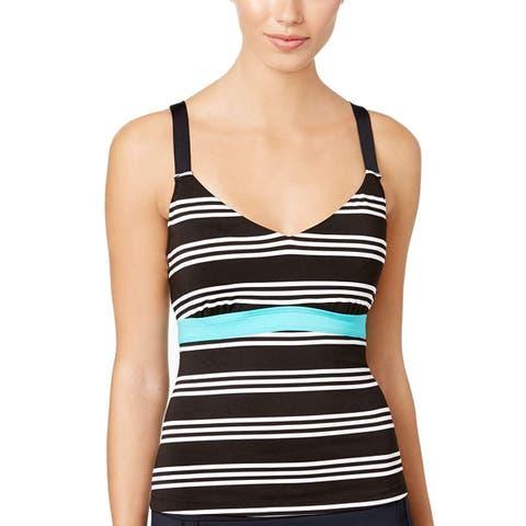 JAG Women's Harbour Stripe Printed Tankini Top - Black 36D/DD