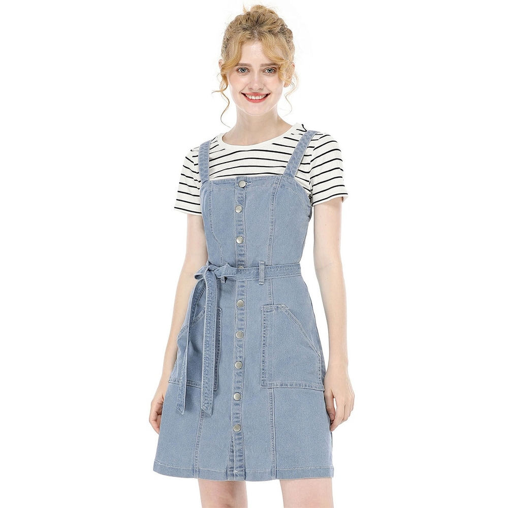 Womens Classic Adjustable Strap A-Line Overall Denim Dress