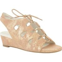 David Tate Women's Rich Wedge Slingback Natural Antique Suede