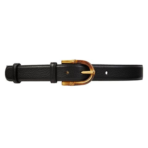 Gucci Womens Cocoa Brown Leather Belt With Bamboo Buckle 322954 2140 (85 / 34)