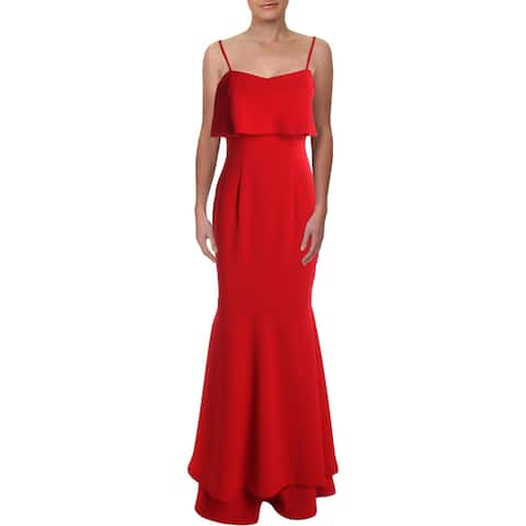 Aqua Womens Formal Dress Crepe Tiered - Red