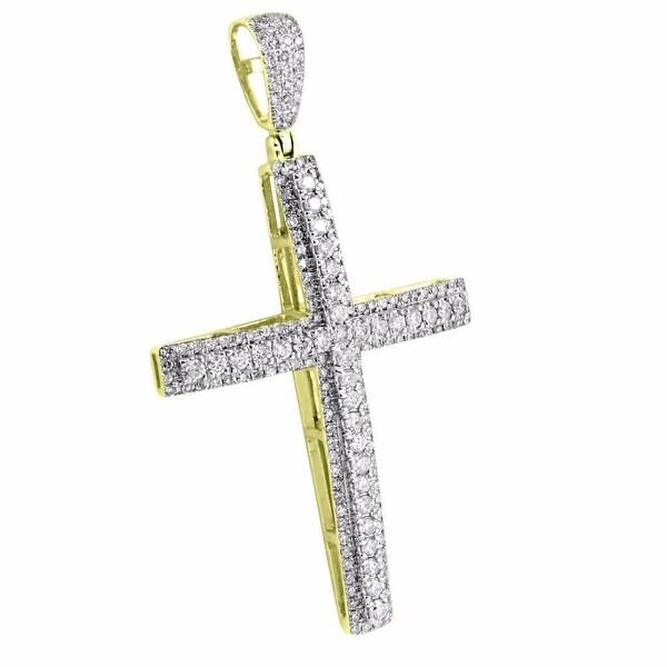 10k Real Yellow Gold Men Cross Pendant 1.9 Inch Genuine Diamonds 0.90 Ct