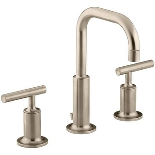 Kohler K-14406-4 Purist Widespread Bathroom Faucet with Ultra-Glide Valve Technology - Free Metal Pop-Up Drain Assembly with