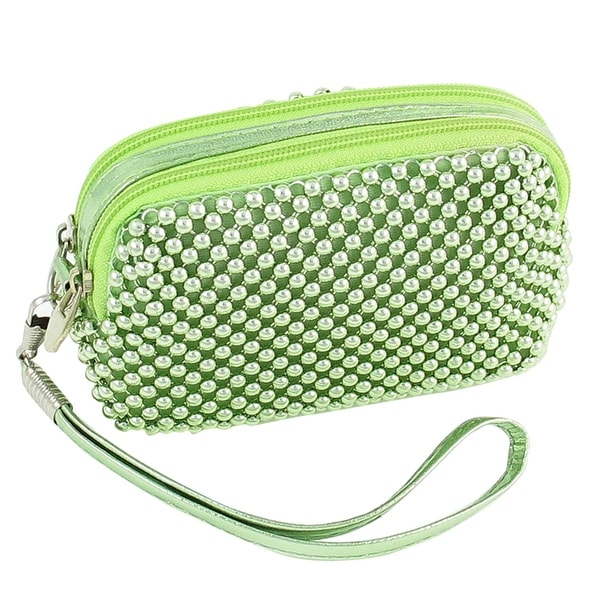 Unique Bargains Ladies Light Green Beads Decoration Zip Closure Keys Purser w Hand Strap