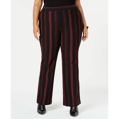INC Women's Purple Size 16W Plus Striped Ponte Dress Pants Stretch
