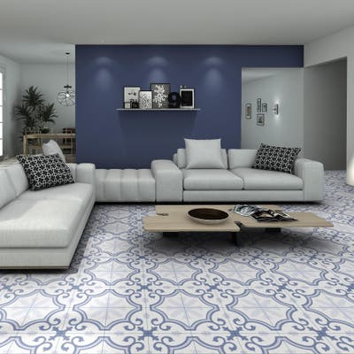 """SomerTile Lacour Artic Encaustic 9.75"""" x 9.75"""" Porcelain Floor and Wall Tile"""