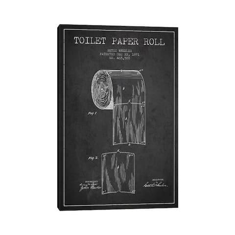"iCanvas ""Toilet Paper Charcoal Patent Blueprint"" by Aged Pixel Canvas Print"