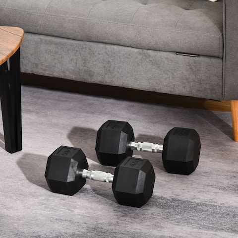 Soozier 80lbs Rubber Dumbbells Weight Set 40lbs/Single Dumbbell Hand Weight Barbell for Body Fitness Training for Home Office