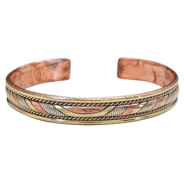 Women's Tibetan Energy Metal Cuff Bracelet - Twist - bronze