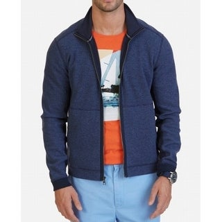 Nautica Indigo Heather Blue Mens Size XL Full-Zip Mock-Neck Jacket