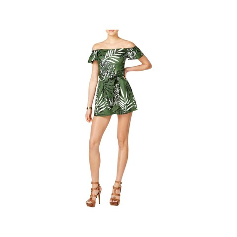 Guess Womens Fulton Romper Off-The-Shoulder Floral Printed