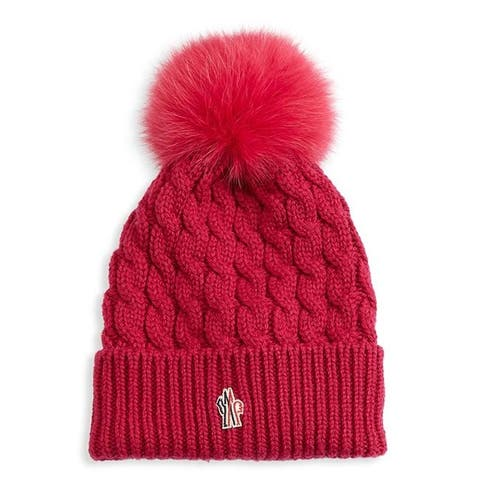 Moncler Grenoble Womans Pink Cabled Pom Pom Hat Beannie