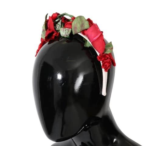 Dolce & Gabbana Red Roses Silk Studded Hair Women's Headband - One Size