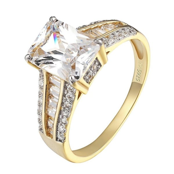 14k Gold Finish Ring Radiant Cut Solitaire Sterling Silver Engagement Promise