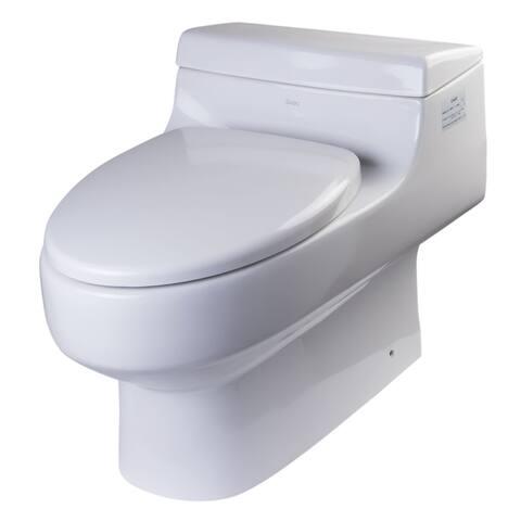 Eago TB352 1.6 GPF One-Piece Elongated Toilet with Seat - White