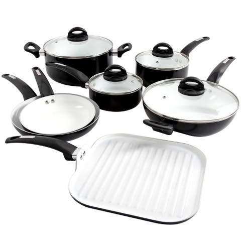 Oster Herstal 11 Piece Aluminum Cookware Set in Black