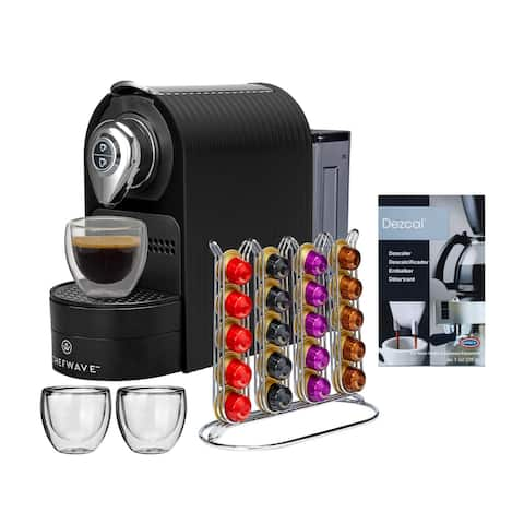 ChefWave Espresso Machine for Nespresso, Capsule Holder (Black) Bundle