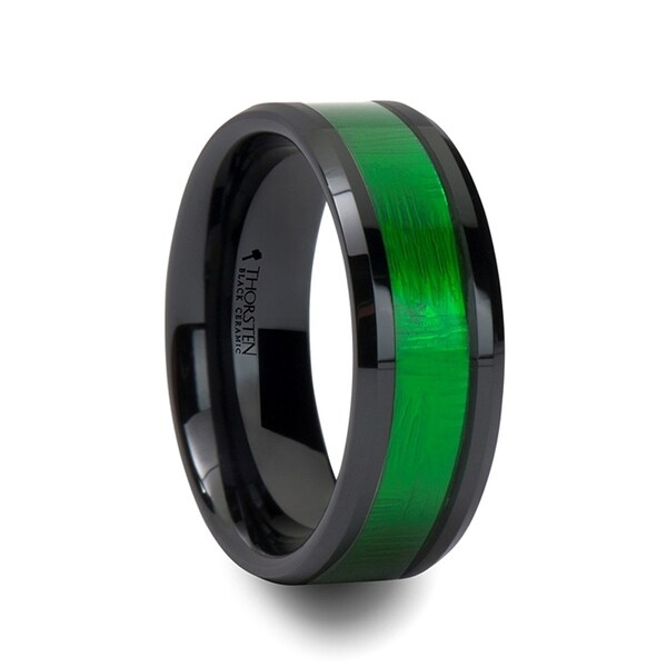 Irving Beveled Black Ceramic Ring With Textured Green Inlay