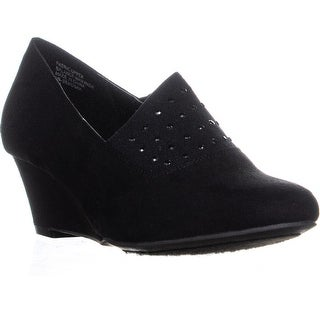 KS35 Serenah Wedge Slip On Heels, Black