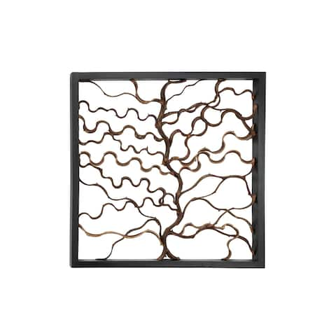 Square Rustic Bauhinia Branches and Teak Wood Wall Decor 35.5""