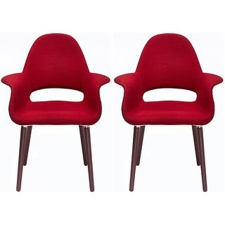 2xhome Set Of Two (2) Organic Style Upholstered Eames Arm Chair with Dark Brown Natural Wood Leg