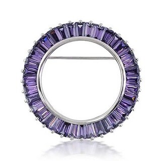 Bling Jewelry 925 Silver Baguette CZ Imitation Amethyst Circle of Life Pin